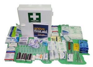 white box with supplies